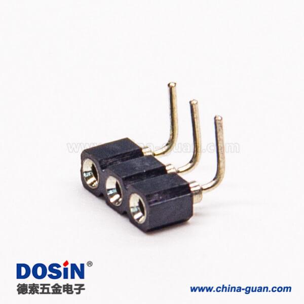2.54弯排母圆孔3pin弯式90度穿孔式连接器