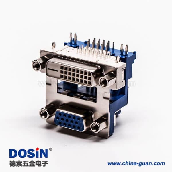 dvi接口与D-SUB15高密度母头弯式铆锁结构带鱼叉
