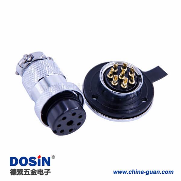 航空插头GX25-8芯防水IP55法兰圆盘直式公母连接器5套