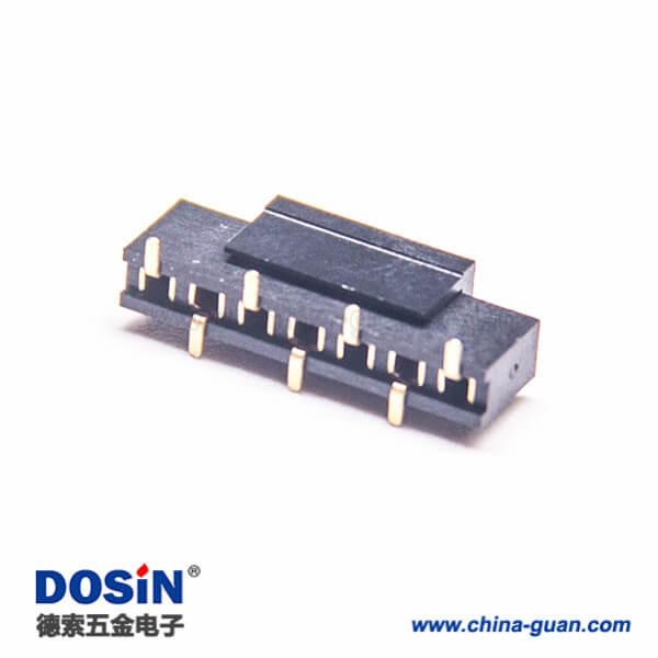 贴片单排母座2.0mm直式塑高4.3mm错位排母5pcs