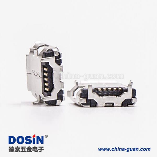 micro USB B型接口5p SMT B型直式牛角型连接器6.40-4.85