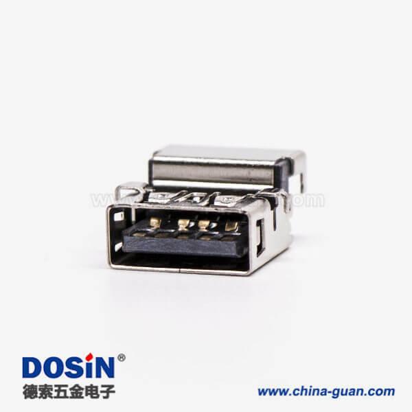 usb3.0接口黑色胶芯弯式母座沉板贴板加高接板