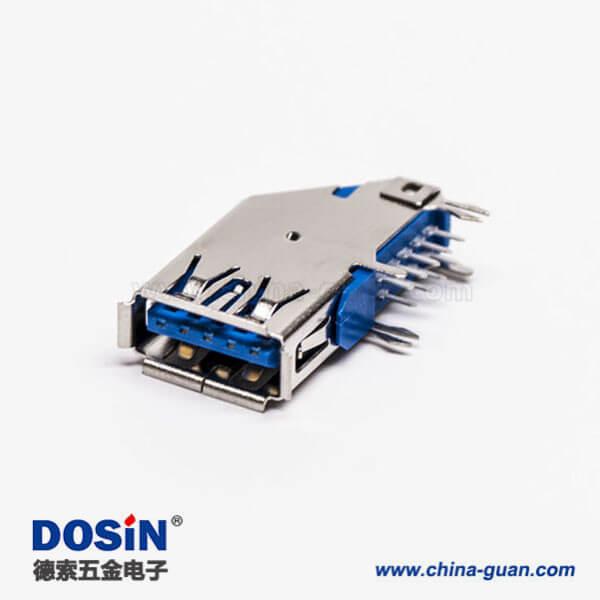 usb3.0母头type a 弯头侧插式蓝色胶芯接板