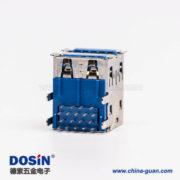 usb3.0双排母座type a弯头蓝色胶芯插板