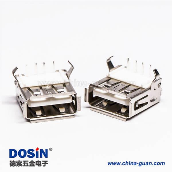 弯脚usb90度弯式母头连接器插孔接PCB板