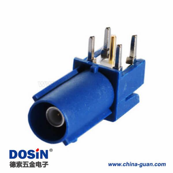 Fakra-C接口公头蓝色PCB插孔安装式弯式汽车连接器