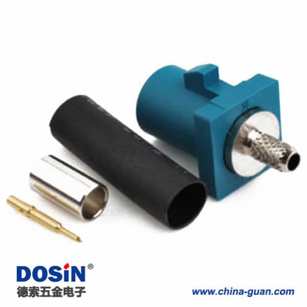 Fakra SMB连接器Z型公头水蓝色压接焊接汽车天线接线RG316 RG174