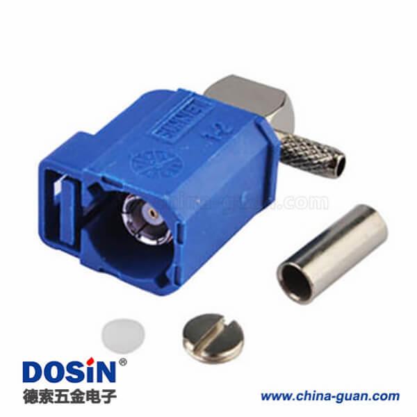 Fakra连接器母头塑料外壳C型弯式蓝色压接焊接接线RG174 RG316连接器