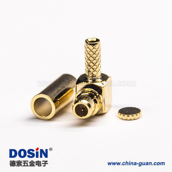 mmcx弯公头带金属帽压接式接线连接器