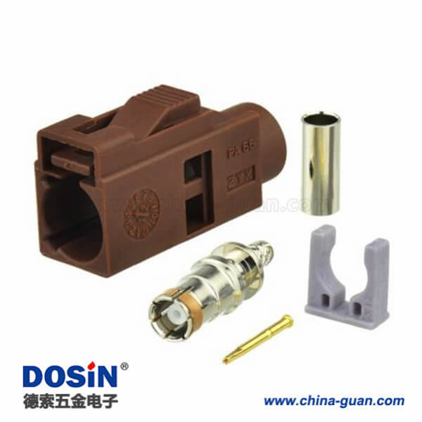 Fakra 高频连接器F型母头棕色压接接线RG316 RG174汽车电视用连接器