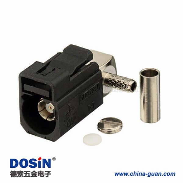 Fakra SMB连接器弯式母头A型黑色压接焊接接线RG174 RG316连接器