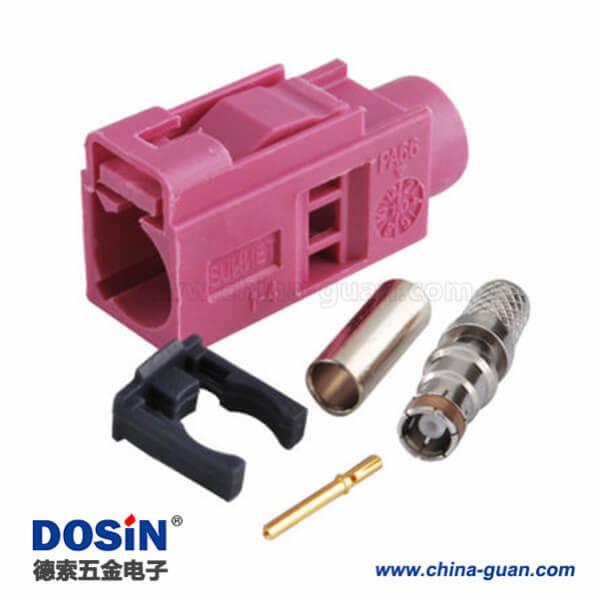 Fakra连接器母头H型压接焊接接线RG58 LMR-195 RG400 RG142连接器