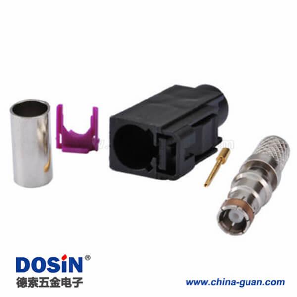 汽车Fakra母头A型压接焊接接线RG58 LMR-195 RG400 RG142连接器