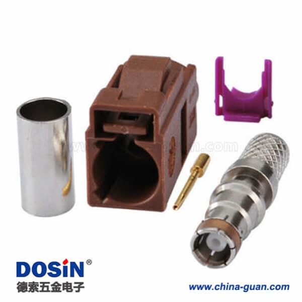 Fakra产品F型母头压接焊接接线RG58 LMR-195 RG400 RG142连接器