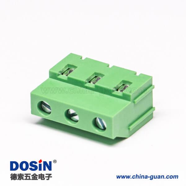 螺钉式多级接线端子3芯直式穿孔式接PCB板绿色