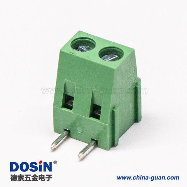 2芯接线端子绿色弯式插PCB板螺钉式端子接线