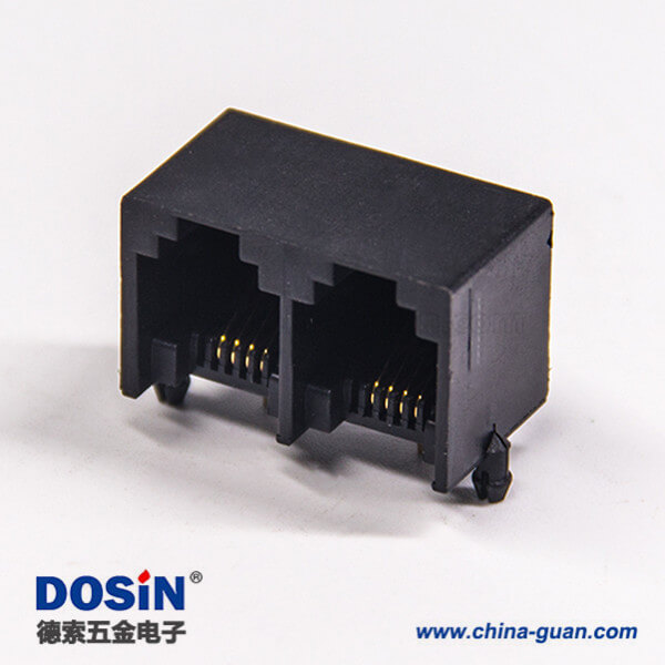 rj9接口模块化网络座子4p4c双端口弯角直插式非屏蔽插座