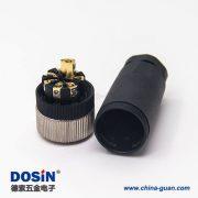 m12压力传感器接线塑胶直式母头航空插头8芯锁接