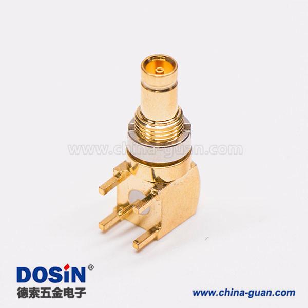 90 度 板端 镀金DIN 1.0/2.3母头连接器