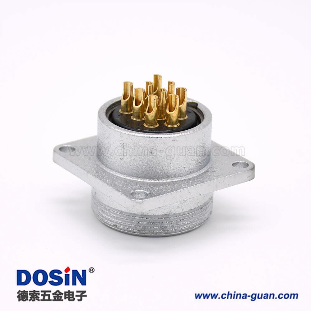 P24公头9芯直式插座方形四孔法兰安装焊杯接线