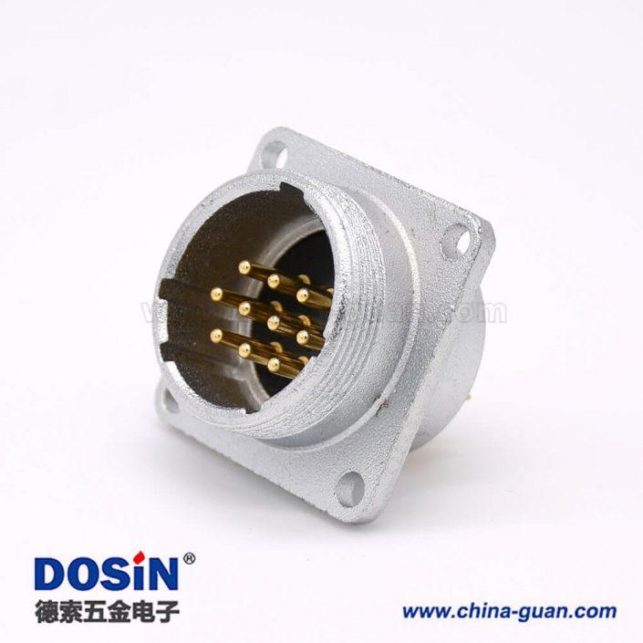 公插座P24 10芯直式连接器方形四孔法兰安装焊杯接线