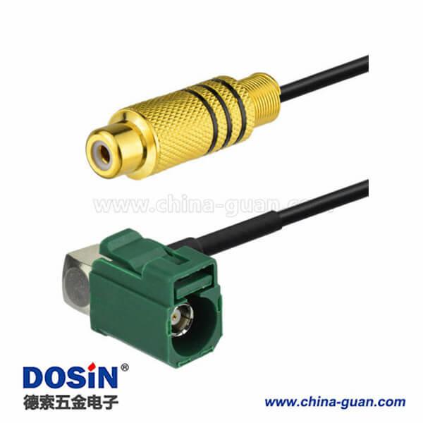汽车天线线束Fakra E型母头转RCA母头弯式视频连接器接线1米