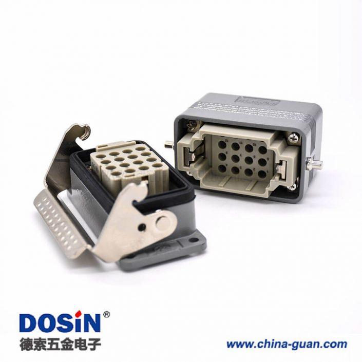 矩形重载连接器H10B不带针公头16芯螺纹PG16公母对接顶出口铁扣2耳开孔安装铝合金外壳