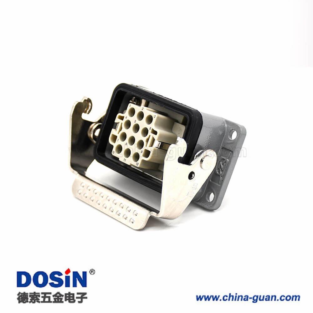 矩形重载连接器H6B不带针公头12芯螺纹PG21高结构斜出口开孔安装公母对接