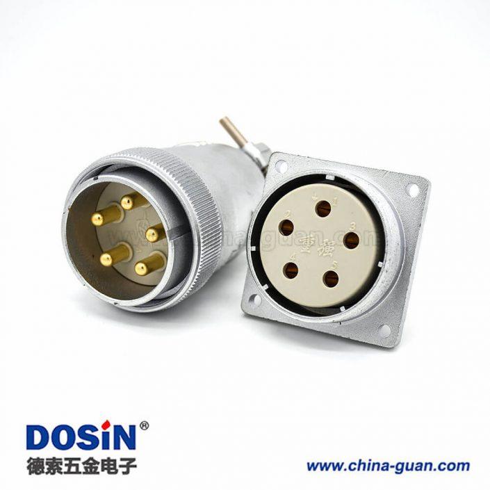 插头插座连接器P40母头直式法兰插座公头5芯直式接线插头连接器