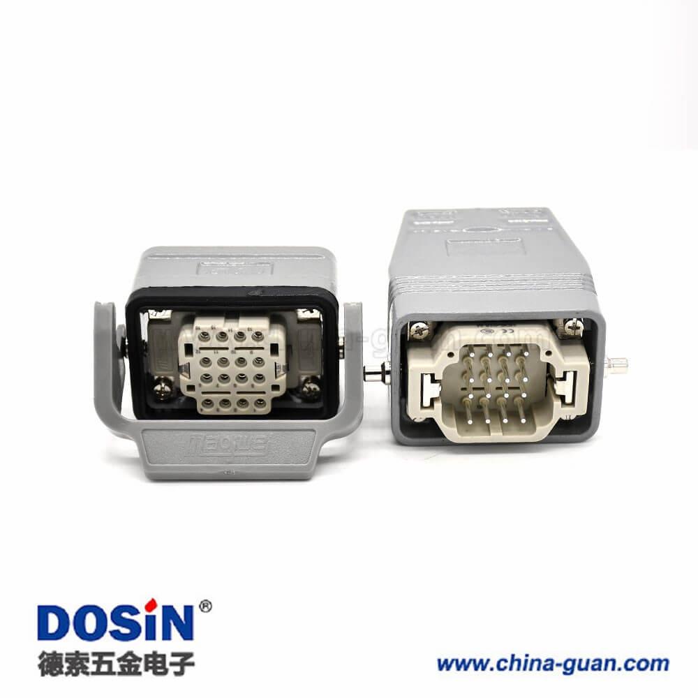 工业矩形重载连接器H6B16芯镀银公母对接螺纹M32高结构顶出口开孔安装
