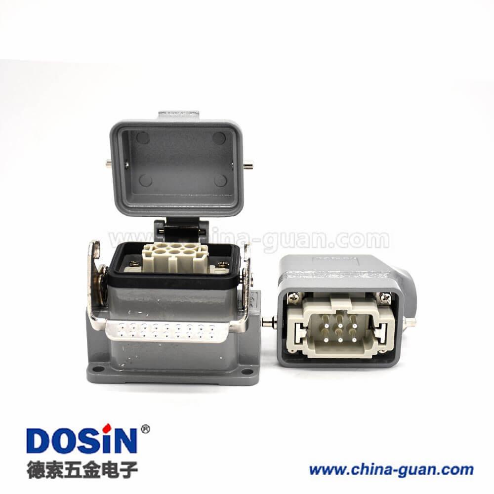 重载矩形连接器H6B表面安装6芯镀银公母对接螺纹M32斜出口带金属防尘盖