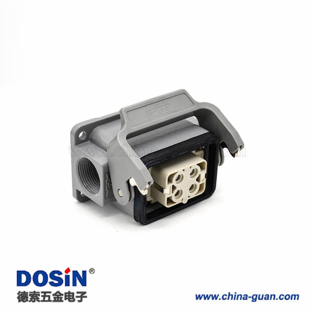 工业重载连接器H6B4芯镀银顶出口螺纹PG16表面安装公母对接铝合金外壳