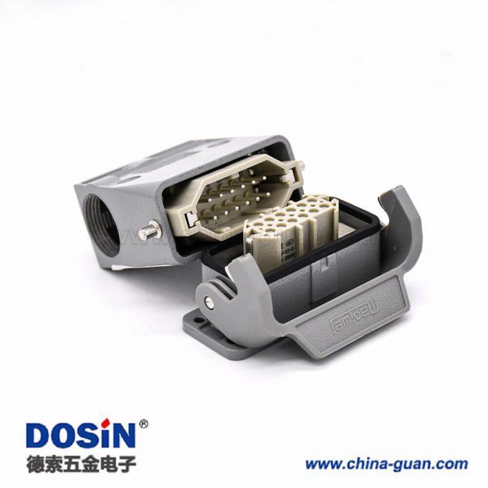 重载防水连接器H10A螺纹M25开孔安装公母对接斜出口12芯镀银PC料内芯