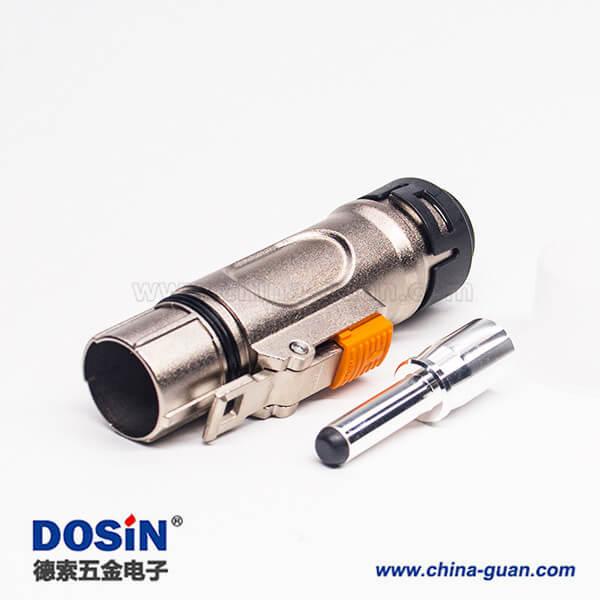 高压互锁金属连接器单芯8mm直式金属插头带屏蔽电流200A