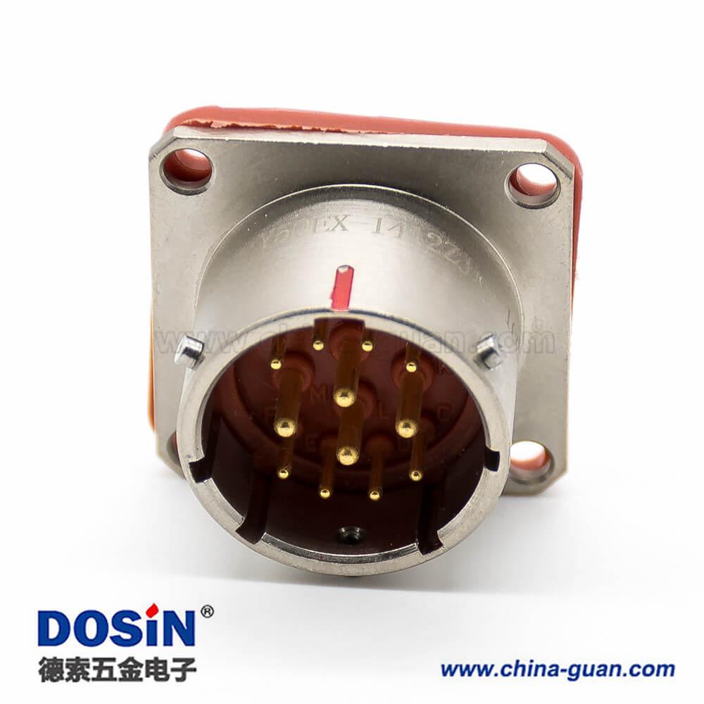 航空圆形电连接器12芯直式14壳体号卡口连接母插头公插座公母对接Y50EX连接器