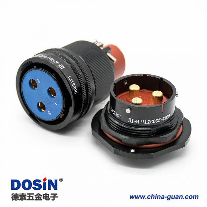 Y50X连接器22壳体号卡口连接插头&插座3芯公母对接面板安装焊杯直式黑色阳极化