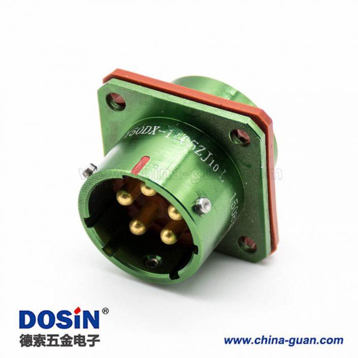 Y50DX公插座直式5芯光亮绿色阳极化铝合金卡口连接面板安装4孔法兰焊杯连接器