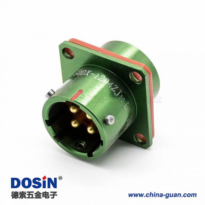 4芯连接器Y50DX直式14壳体号公插座面板安装焊杯光亮绿色阳极化卡口连接