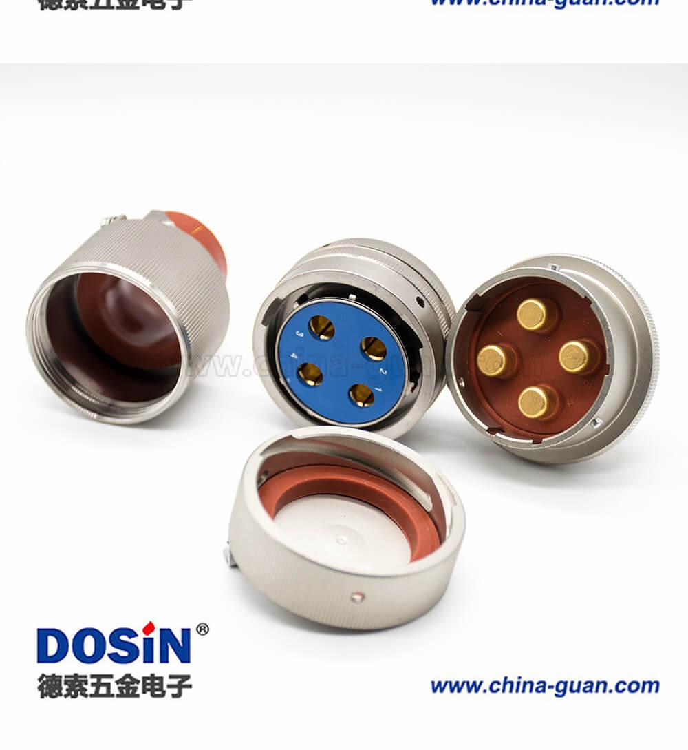 4芯圆形连接器Y50X插头&插座&防尘盖22壳体号公母对接焊杯卡口连接直式铝合金