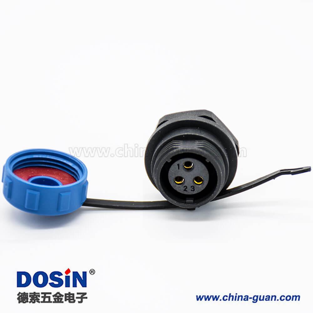 SP防水SP13直式3芯公插头母插座后锁板螺纹连接防水防尘接线