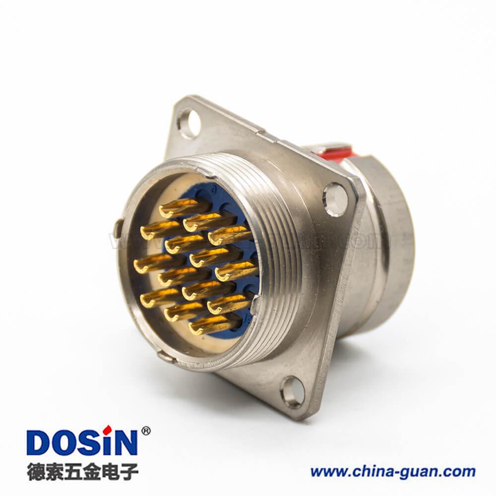 14芯连接器Y27G4孔法兰焊杯20壳体号母插座橡胶密封180°卡口连接