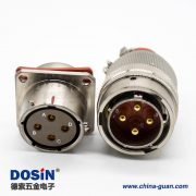 YGD插头&插座16壳体号4芯直式公母对接连接器面板安装卡口连接焊杯接线