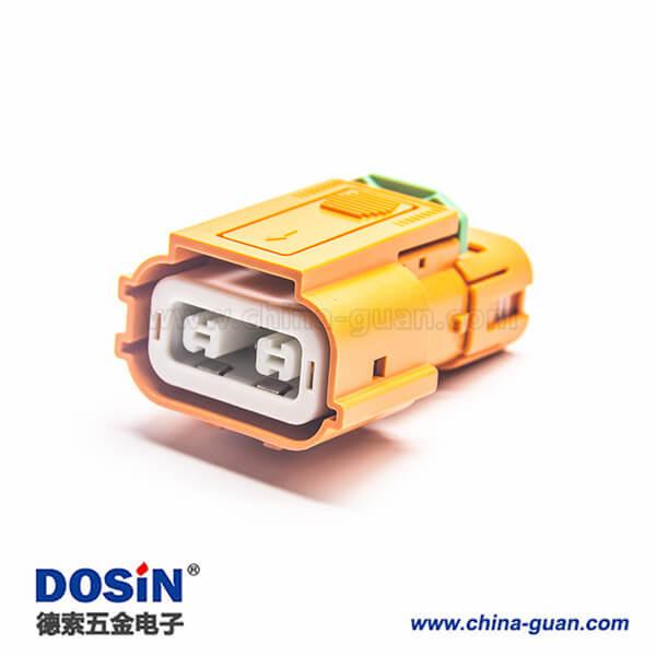 高压互锁HVIL2芯塑料绝缘体直式插头150A连接器
