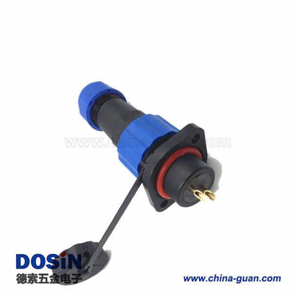2芯防水航空插头插座连接器二孔法兰接头SP13面板式