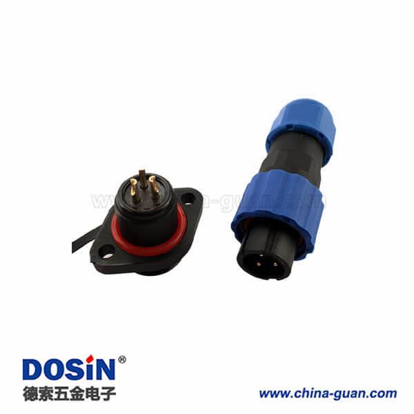 威浦 SP13 2芯 航空插头插座2孔法兰