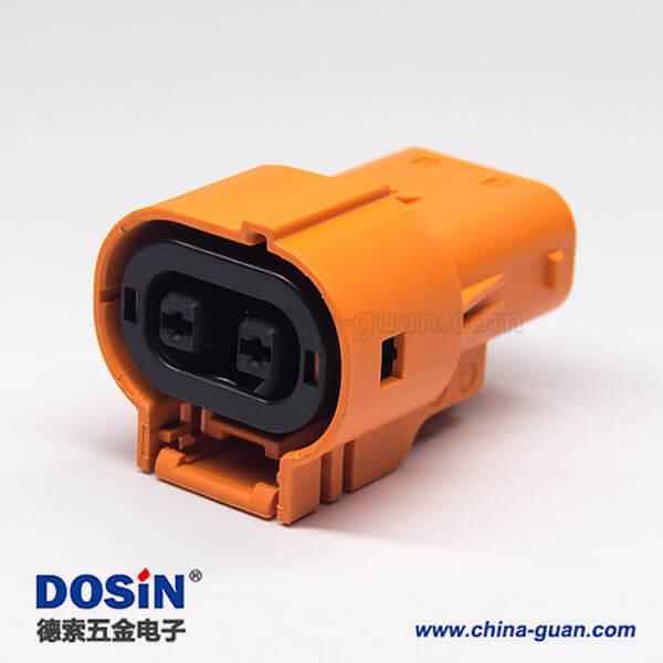 新能源汽车高压连接器插头2芯塑料电流150A直式互锁