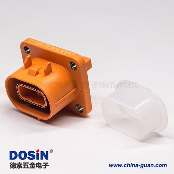 电动汽车高压连接器塑料插座2芯直式电流150A高压互锁