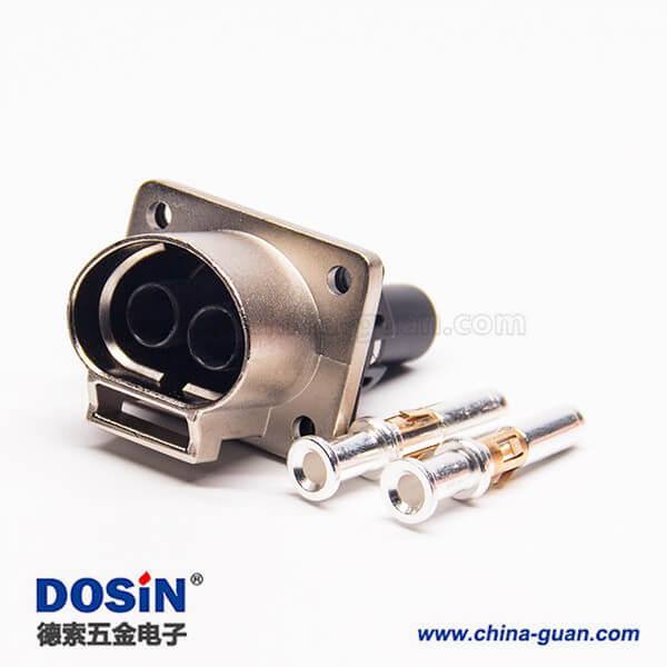 2芯35A高压互锁连接器插座金属带屏蔽