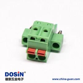 插拔式PCB接线端子直式绿色焊接弹簧式连接器