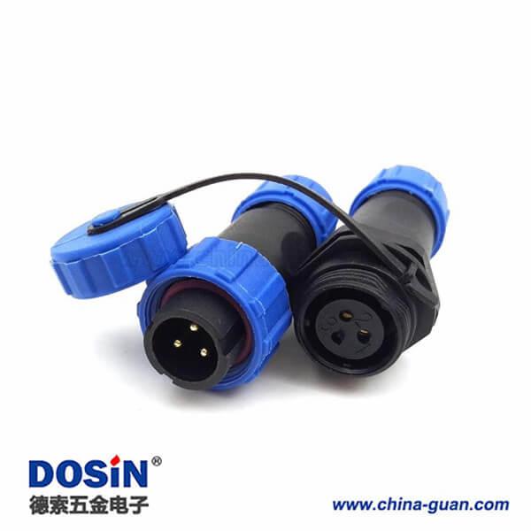 SP17 3芯 IP68防水航空插头插座 连接器 对接